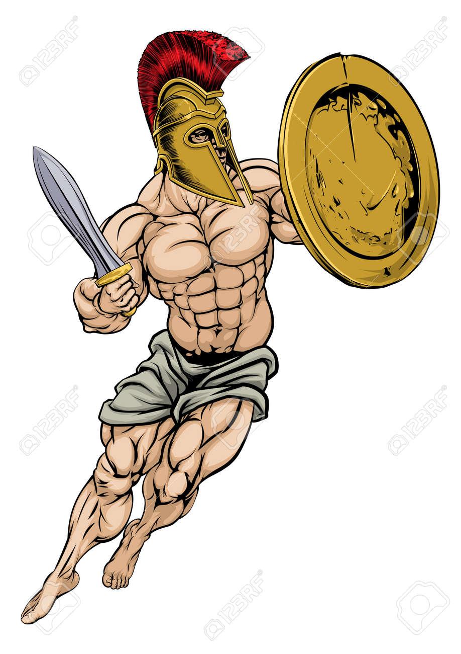 筋肉強いトロイの戦士のイラストのイラスト素材ベクタ Image 42462667