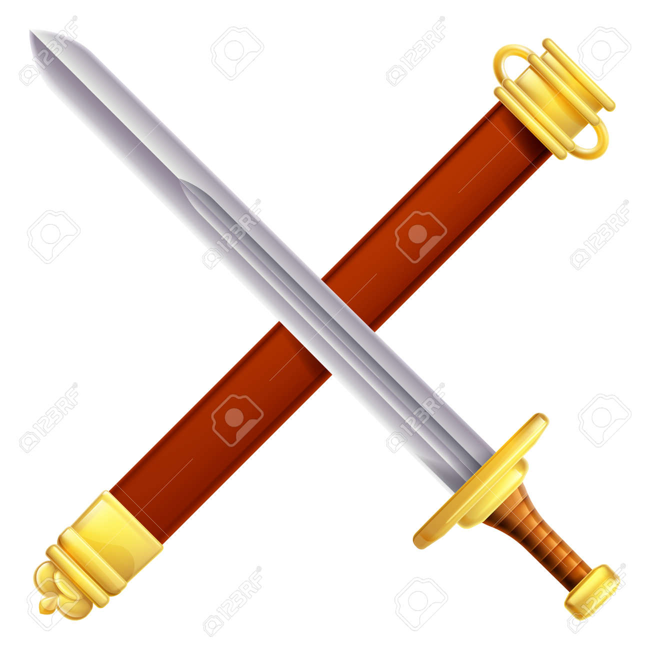 An illustration of a crossed sword and scabbard - 42463860