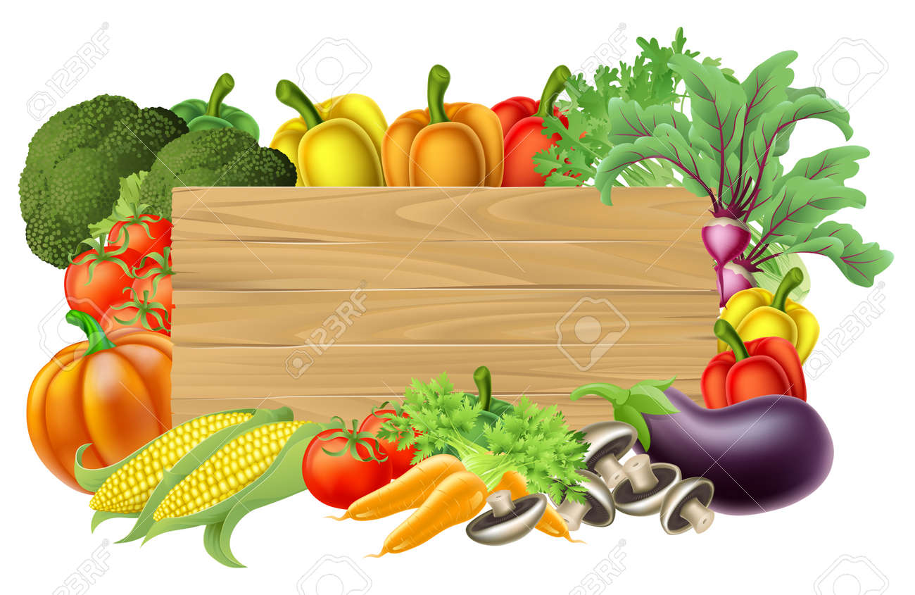 A Wooden Vegetables Sign Background Surrounded By Border Of Fresh Fruit And Food Produce