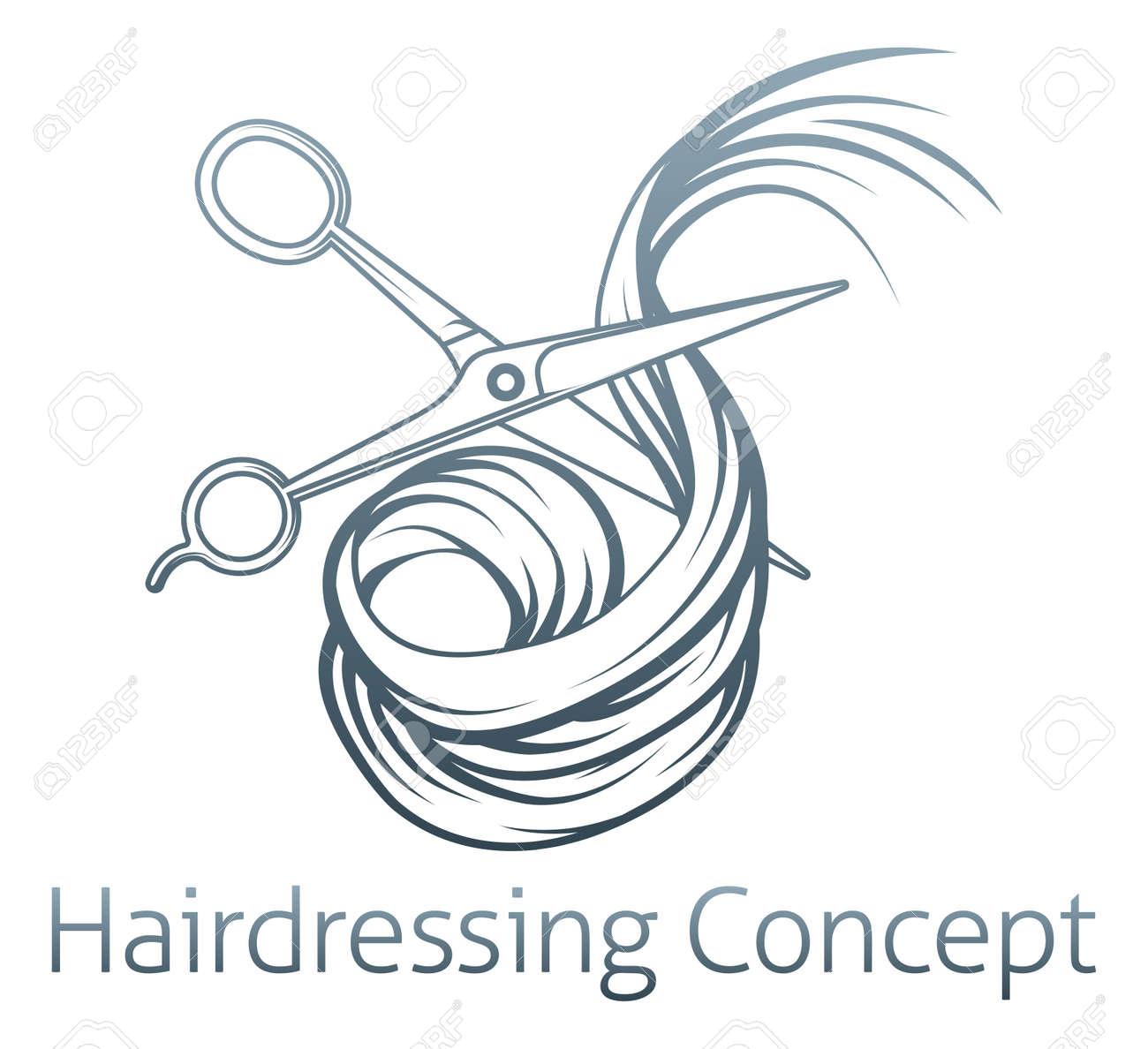 髪を切る美容師ハサミのイラストのイラスト素材ベクタ Image 42599457