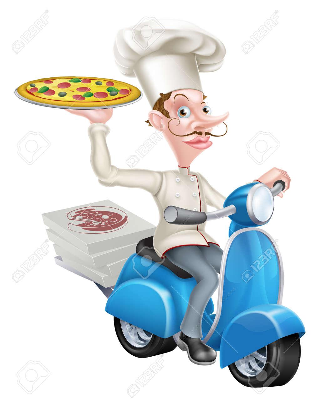 Una Caricatura De Cocina De Una Pizzería Entrega De Pizza En Su ...