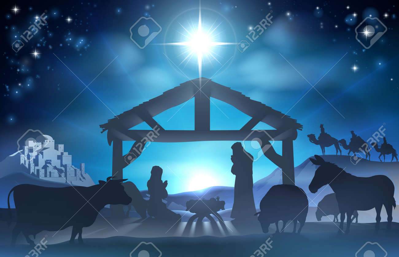 Traditional Christian Christmas Nativity Scene of baby Jesus in the manger with Mary and Joseph in silhouette surrounded by the animals and wise men in the distance with the city of Bethlehem - 43856641