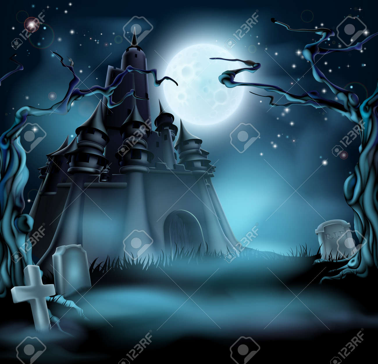 Halloween Castle Grave Yard Background With A Spooky Haunted Trees And Graves