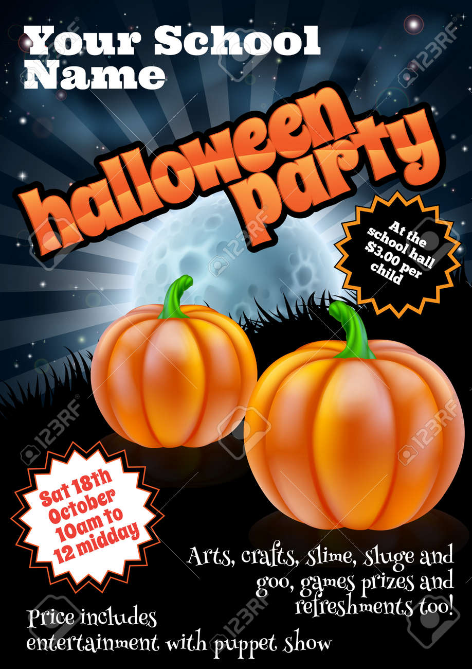 School Childrens Halloween Party Poster Invite Invitation Or ...