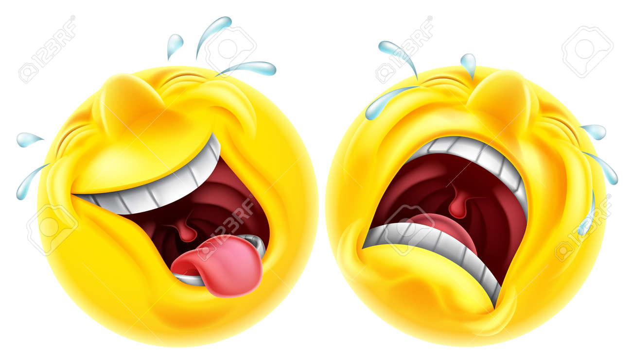 Theatre comedy tragedy mask style emoji faces one laughing and one crying - 44491562