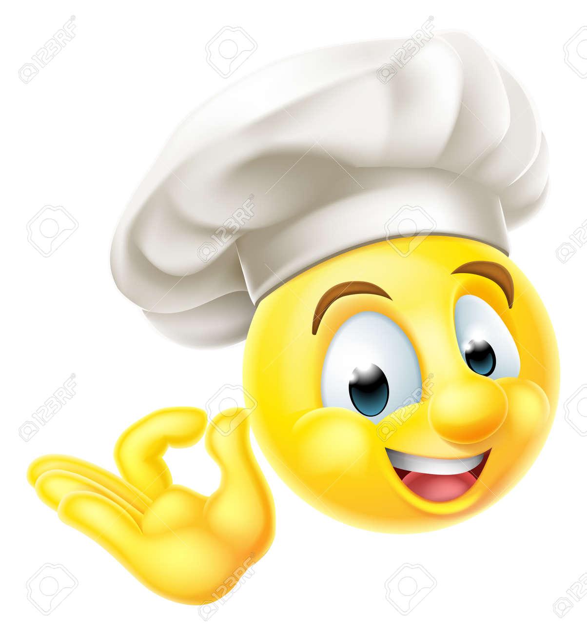 Foto de archivo - Un emoticono emoji carácter cara sonriente vestido como  un cocinero con un sombrero de los cocineros que da una muestra perfecta o  bien ... 384c3c40eaf