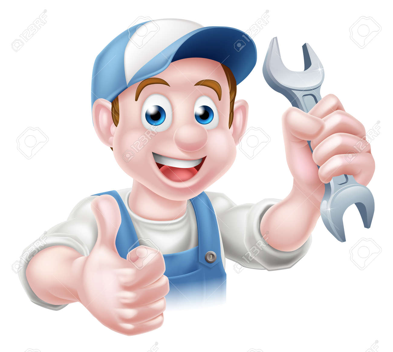 Cartoon Plumber or auto repair mechanic service handyman worker man giving a thumbs up and holding a spanner - 44561503