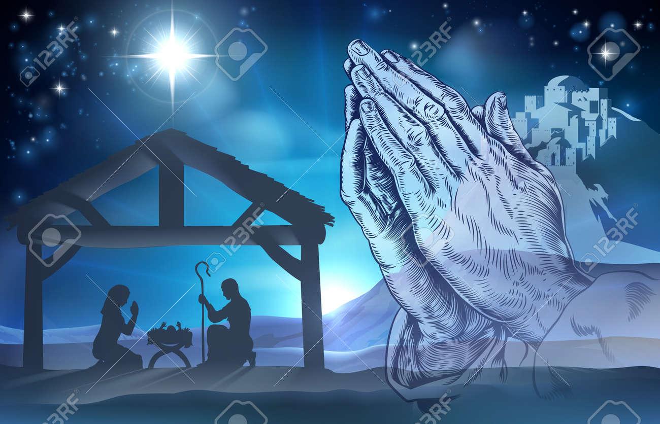 nativity christian christmas scene of baby jesus in the manger