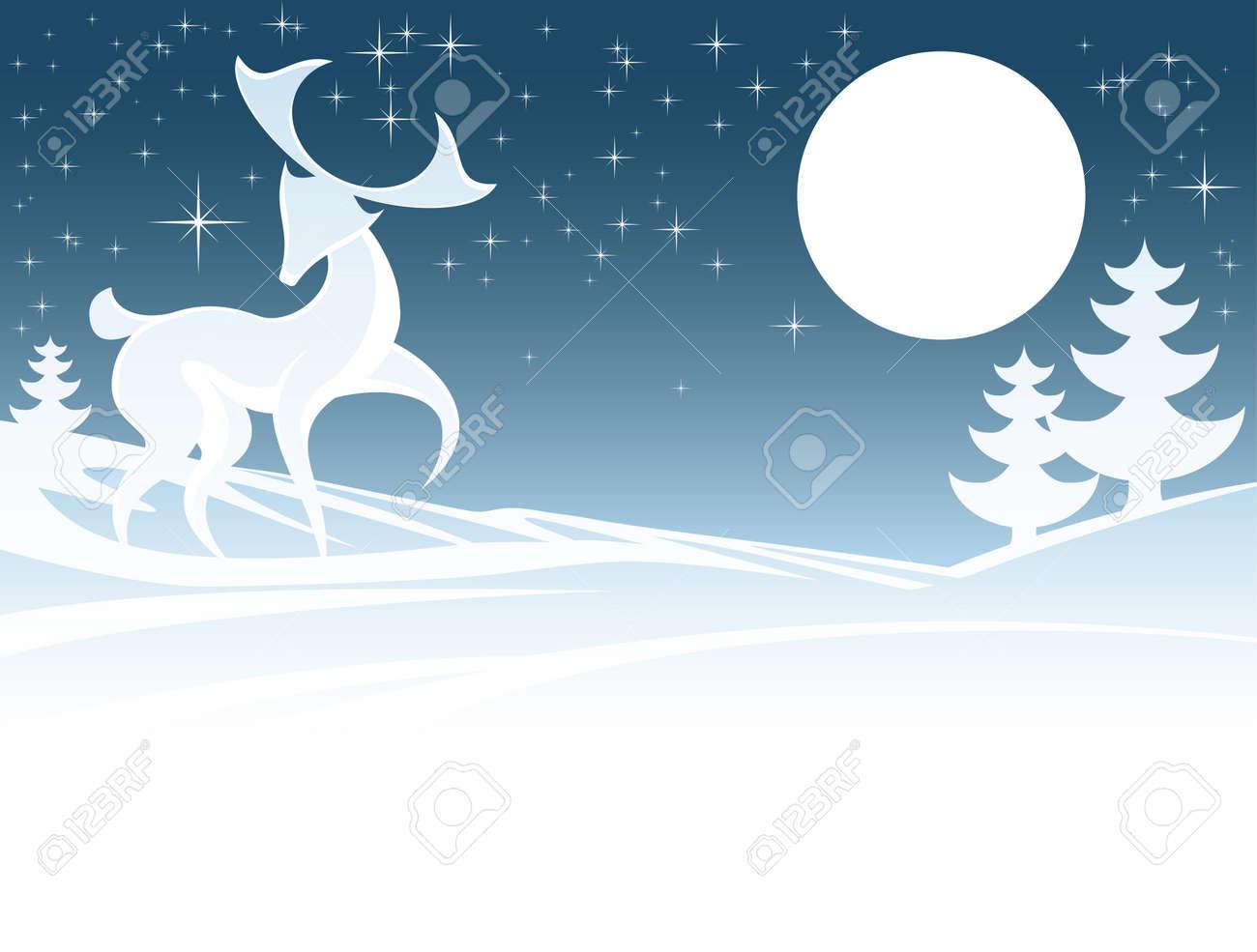 Stilisierte Illustration Weihnachten Winter-Szene Mit Einem Hirsch ...
