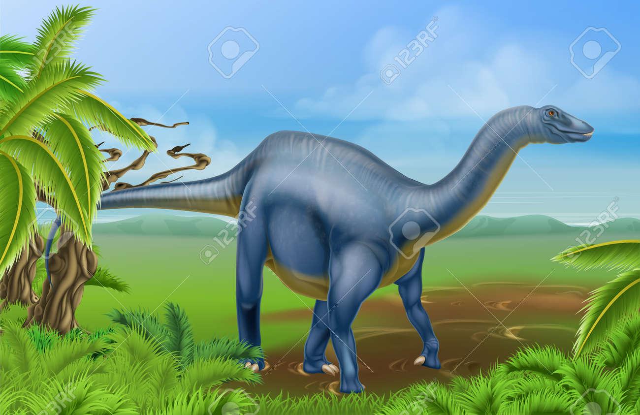 banque dimages une illustration dun dinosaure de diplodocus de la famille des sauropodes comme brachiosaurus et dautres dinosaures long cou dans une