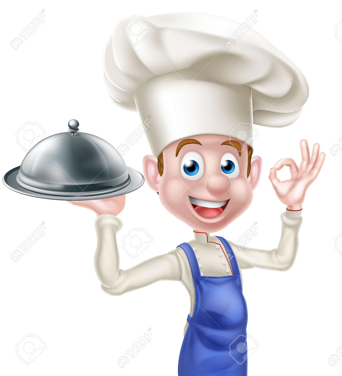 a cartoon happy chef character holding a platter or cloche and