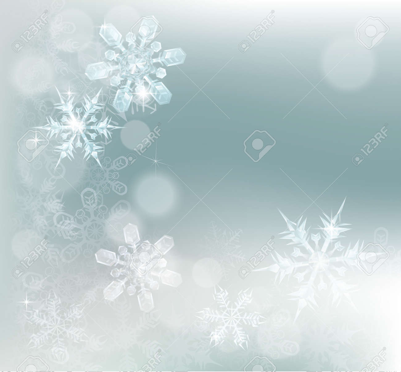 Blue silver abstract snowflakes snow flakes Christmas or New Year festive winter design background. - 45156056