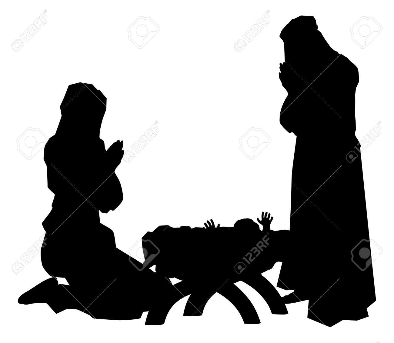 Traditional Religious Christian Christmas Nativity Scene Of Baby Jesus In The Manger With Mary And Joseph