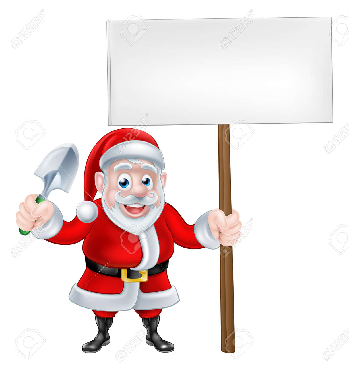Ein Weihnachts-Karikatur Von Santa Claus Eine Kelle Spaten Und ...