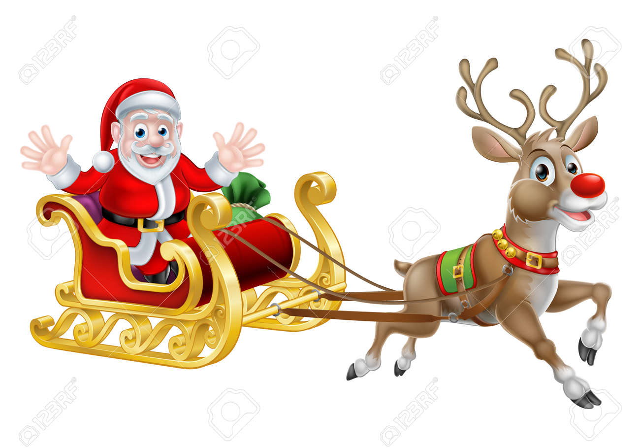 cartoon of santa and his reindeer with his christmas sled royalty