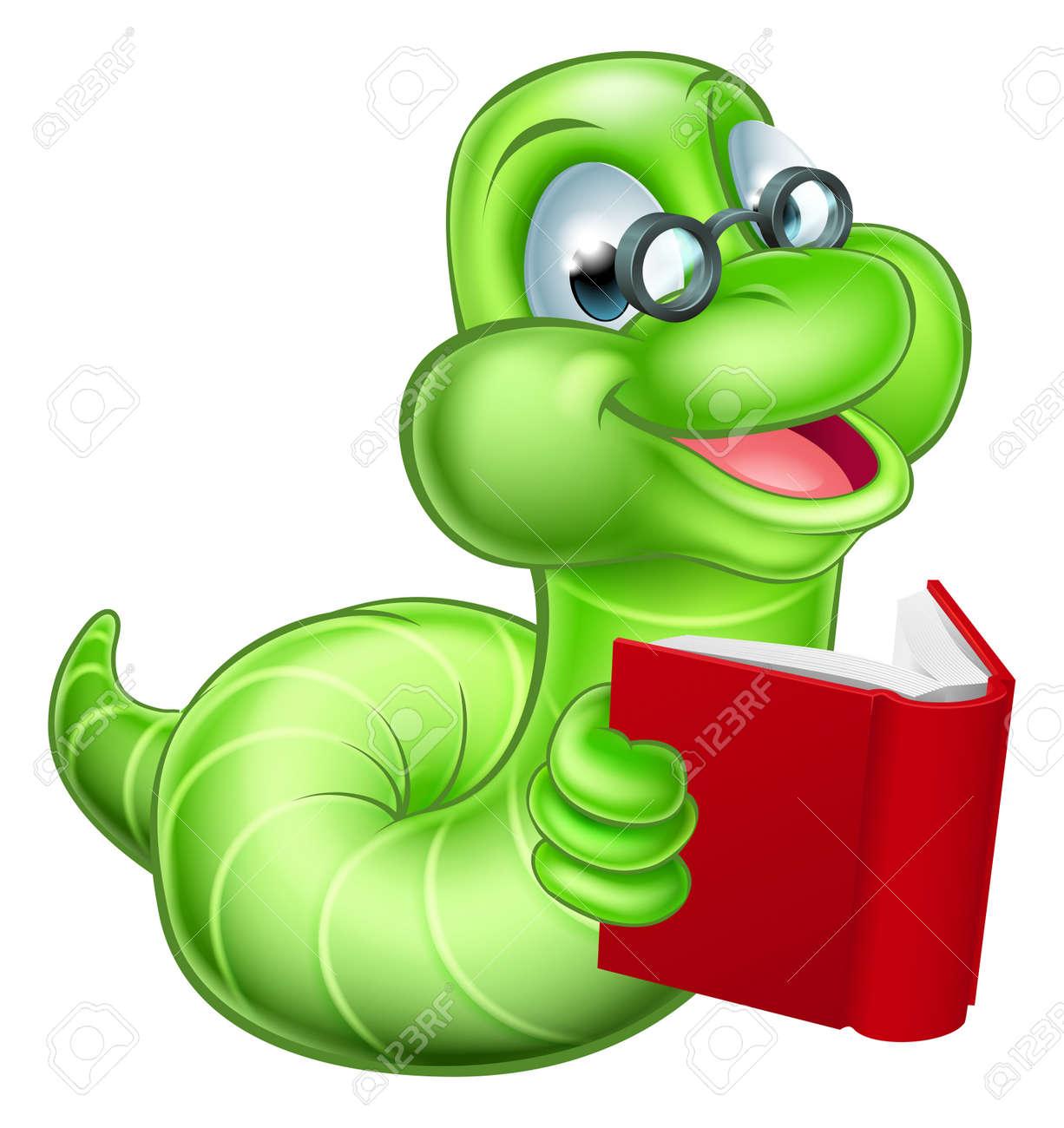Bücherwurm clipart  Nette Lächelnde Grüne Raupe Cartoon-Wurm Bücherwurm Mit Brille Ein ...