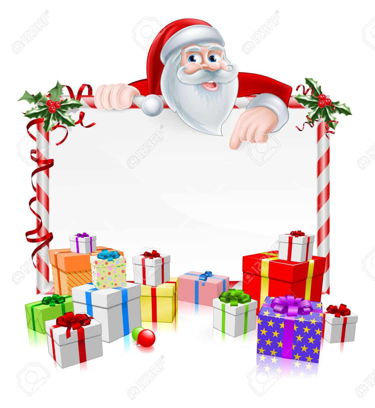 Vettoriale - Segno Babbo Natale Con Cartone Animato Babbo Dà Una