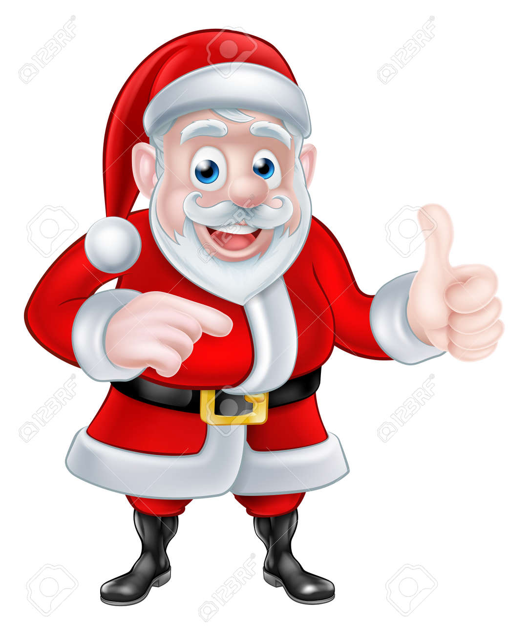 Christmas Images Cartoon.A Christmas Cartoon Illustration Of Santa Claus Pointing And