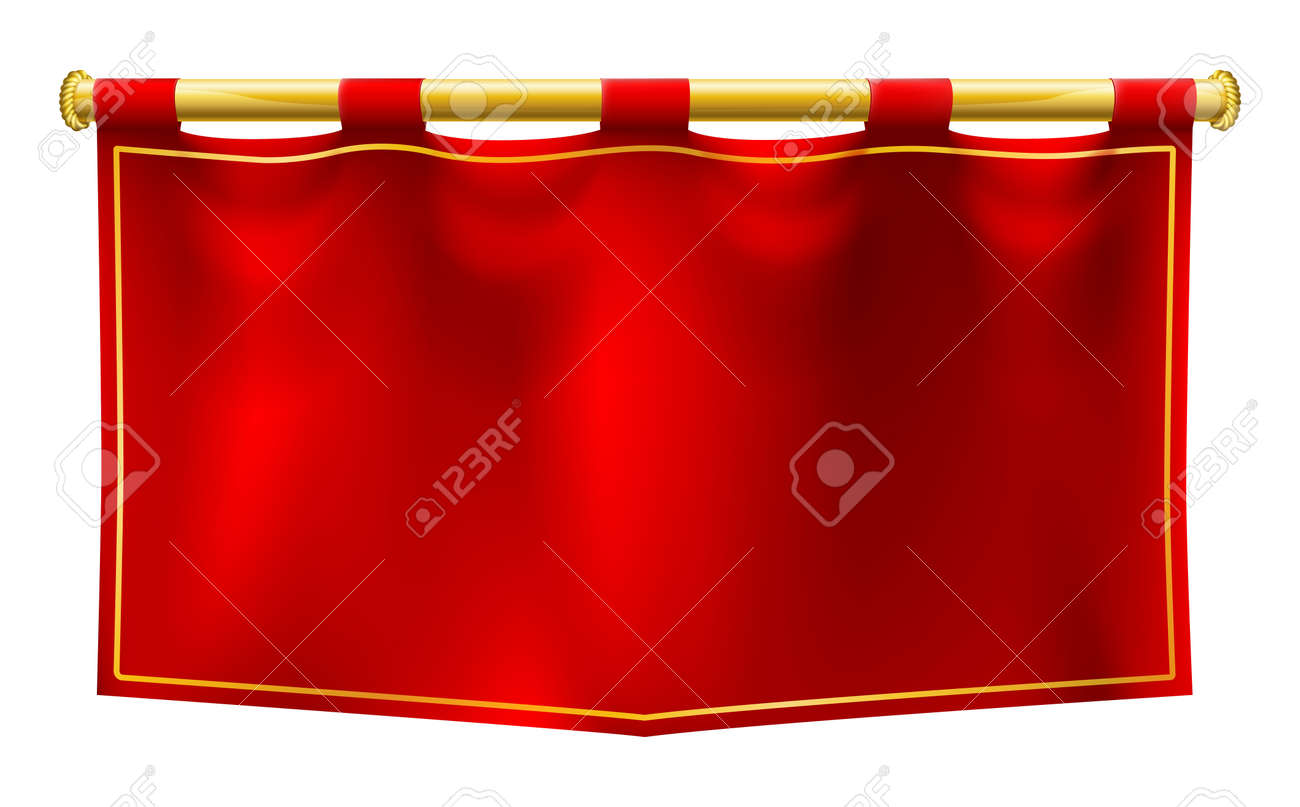 A medieval style red banner flag suspended on a gold pole - 45913756