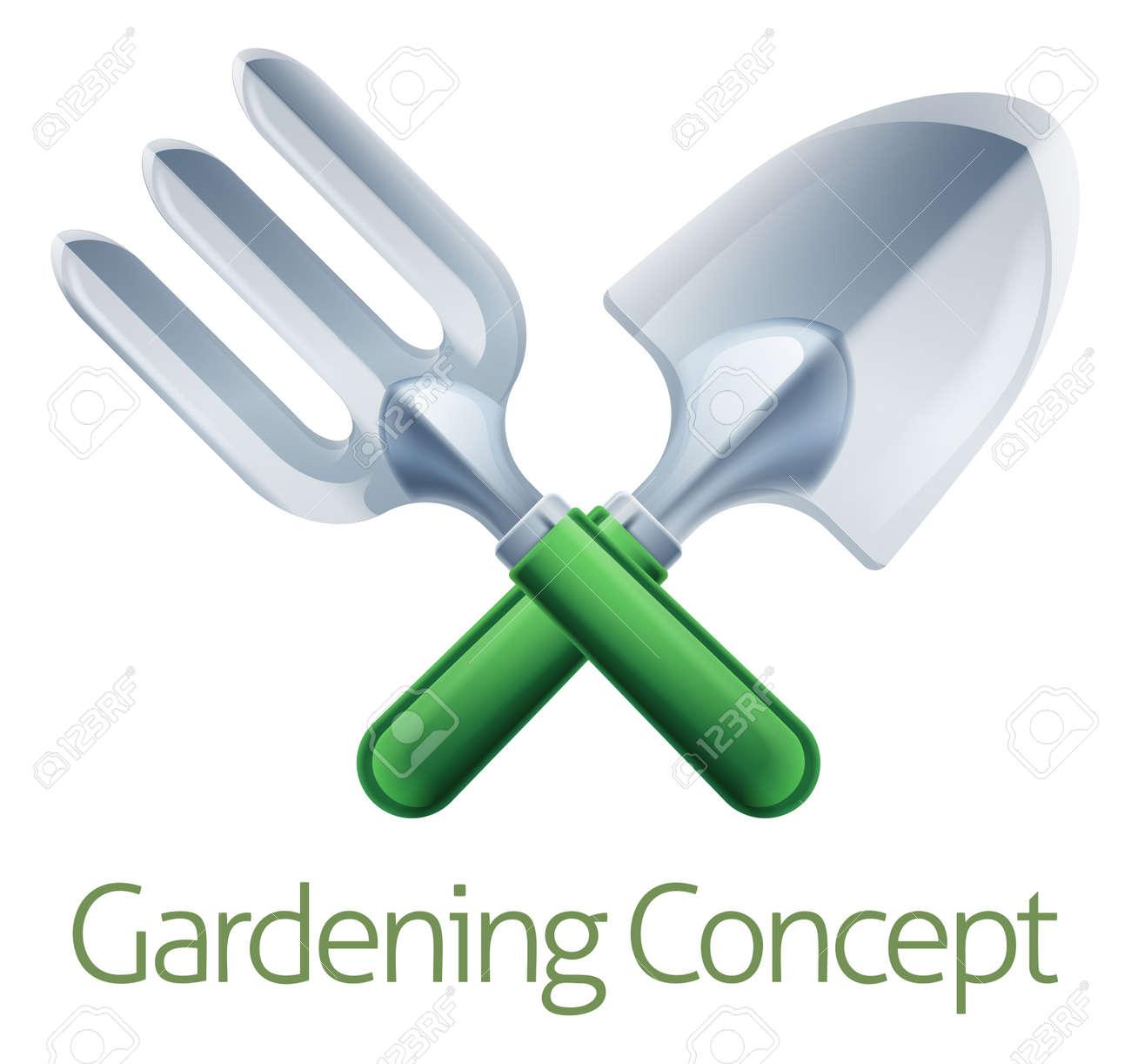 A Crossed Garden Fork And Trowel Spade Gardeners Gardening Tools Icon Stock  Vector   45913760