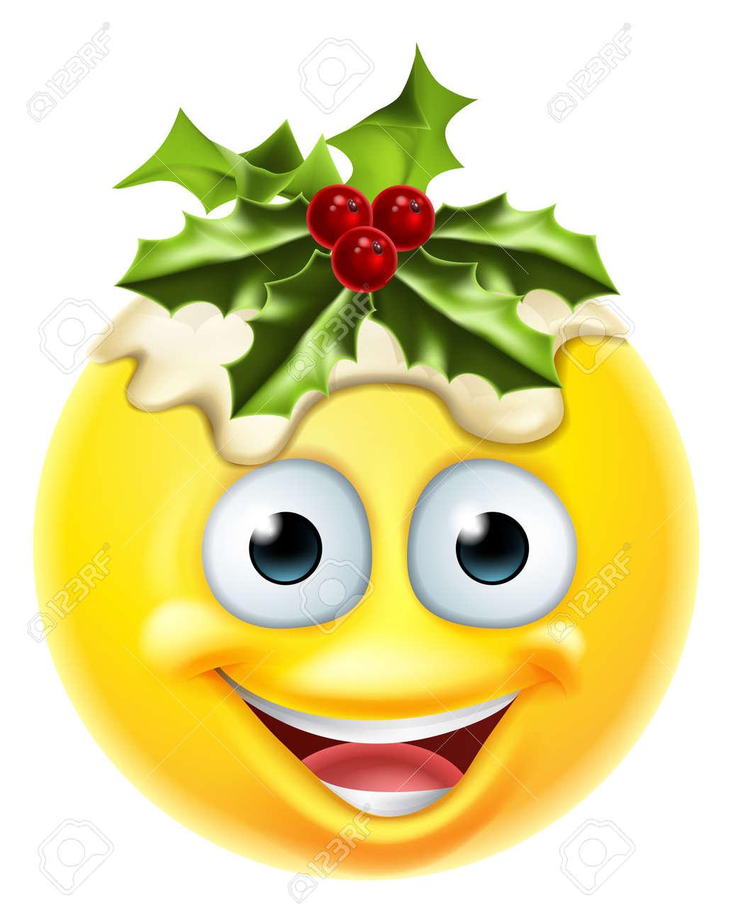A Christmas pudding festive emoticon emoji character