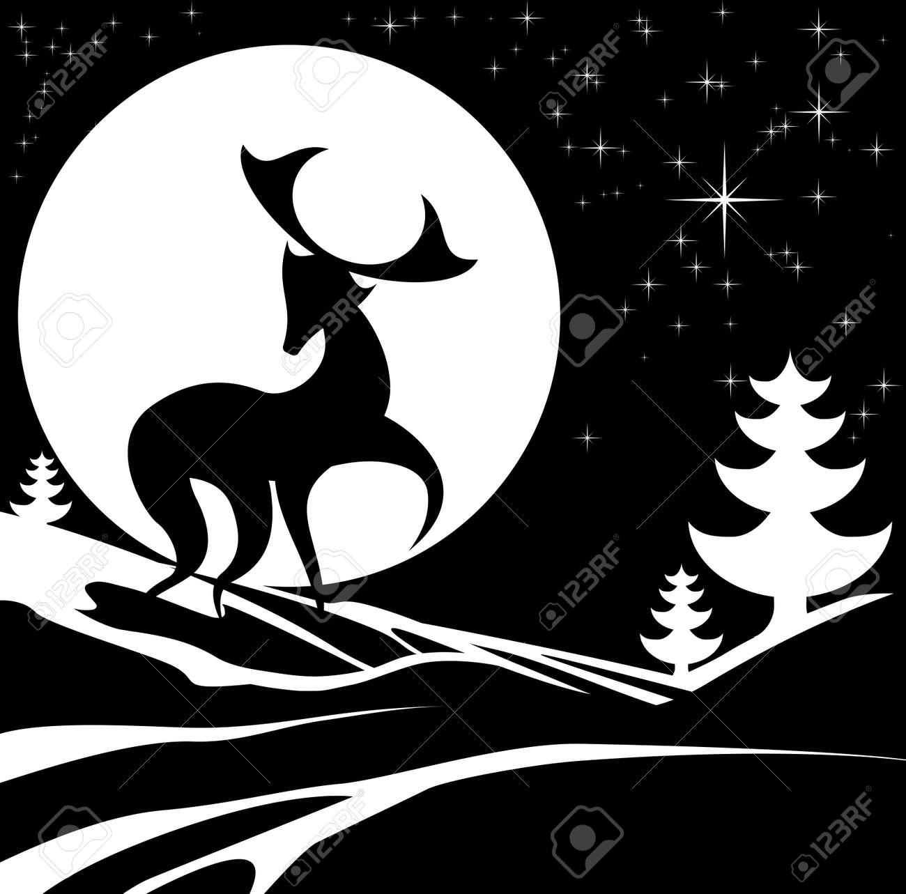 Dessin Monochrome Noir Et Blanc D Une Scène D Hiver De Noël Avec Un Cerf Cerf Mâle Stylisée Et La Pleine Lune Dans La Neige Avec Des Arbres De Noël