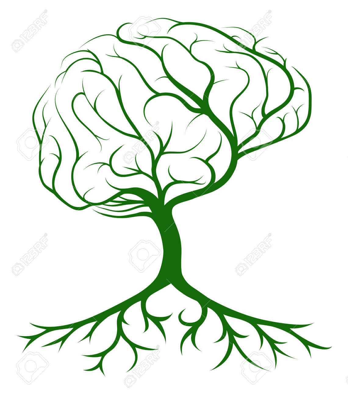 Brain Tree Concept Of A Tree Growing In The Shape Of A Human ...