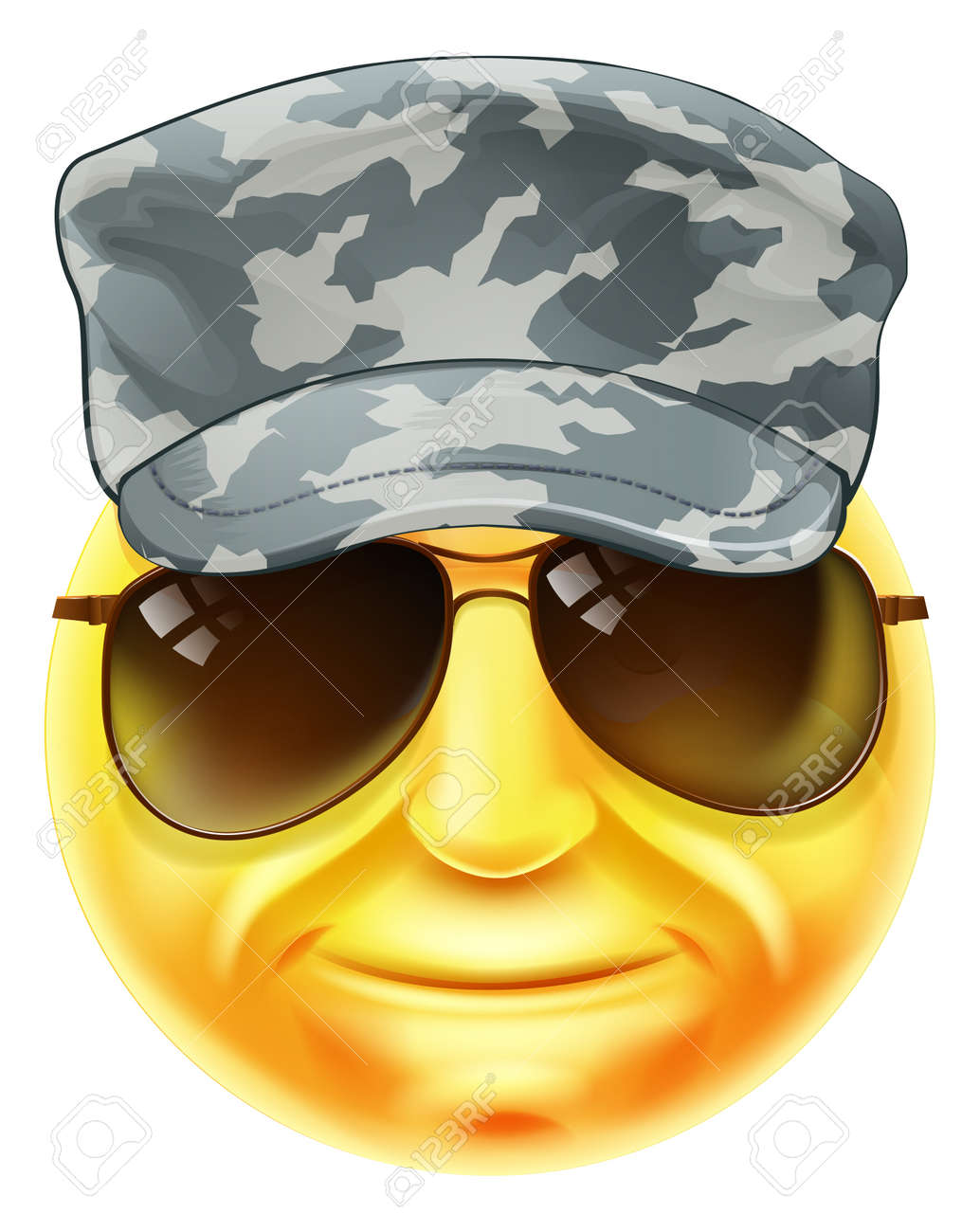 Set Of Vector Images Smileys With Military Elements stock vector ...
