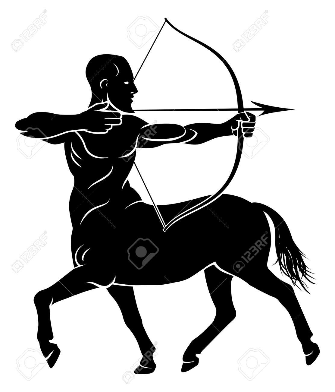 Archer centaur half horse half man character holding a bow and