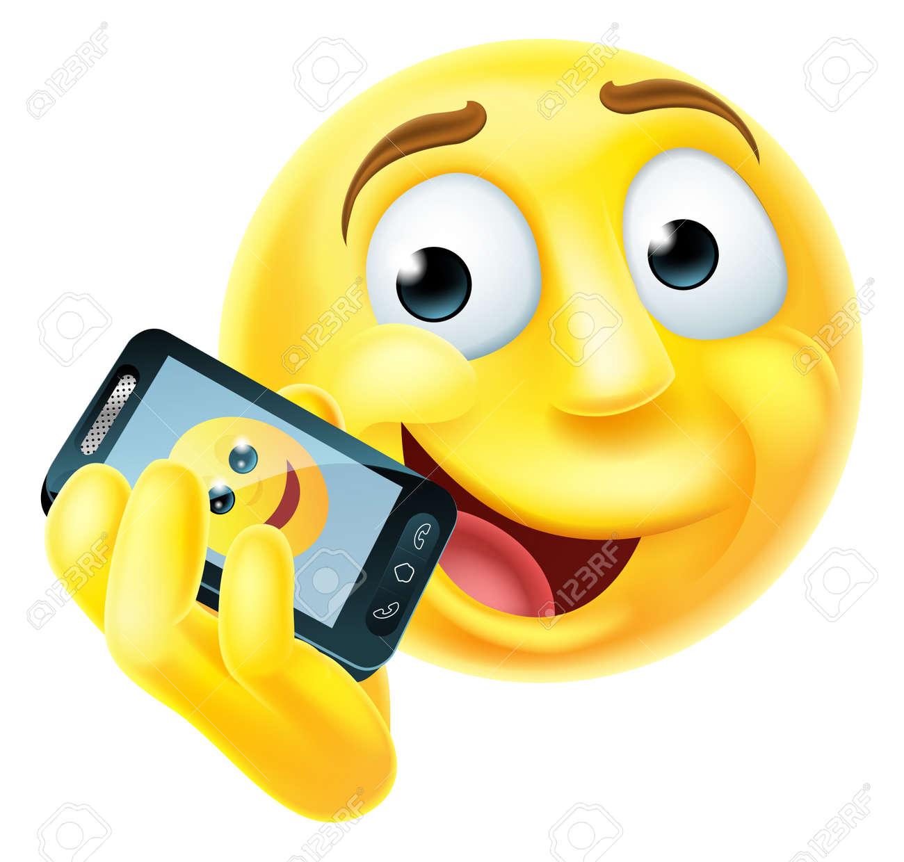 Un Emoji Emoticone Caractere Face Smiley Heureux De Parler Sur Un Telephone Mobile Ou Un Telephone Cellulaire Clip Art Libres De Droits Vecteurs Et Illustration Image 47535044