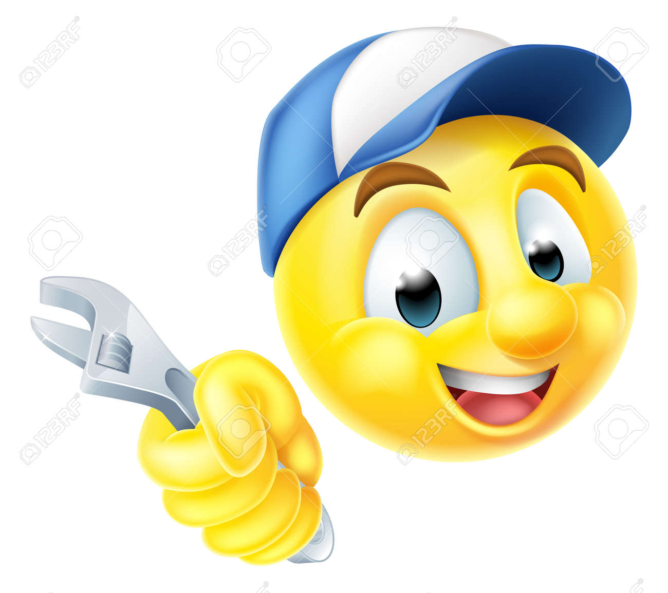 Car emoji stock photos pictures royalty free car emoji images a cartoon mechanic or plumber emoticon emoji holding a spanner or wrench and wearing a cap biocorpaavc