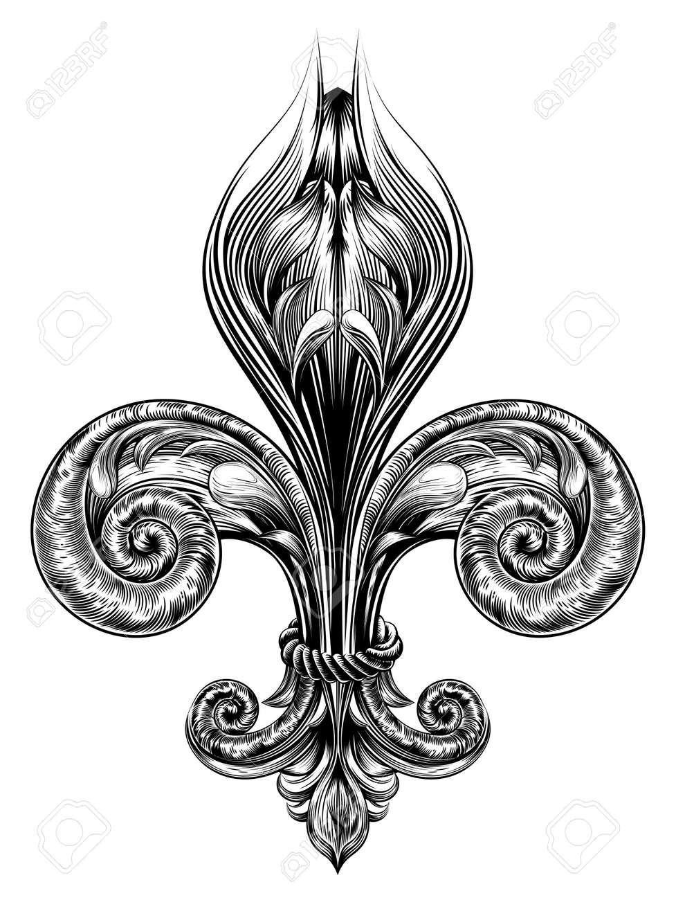 Fleur De Lis Decorative Design Element Or Heraldic Symbol In A Vintage Woodblock Style Stock Vector