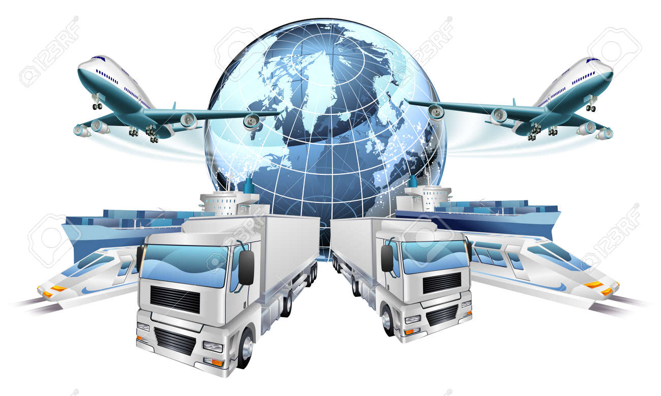 Logistics transport concept of planes, trucks, trains, and cargo ship coming out of a globe Stock Vector - 48121057