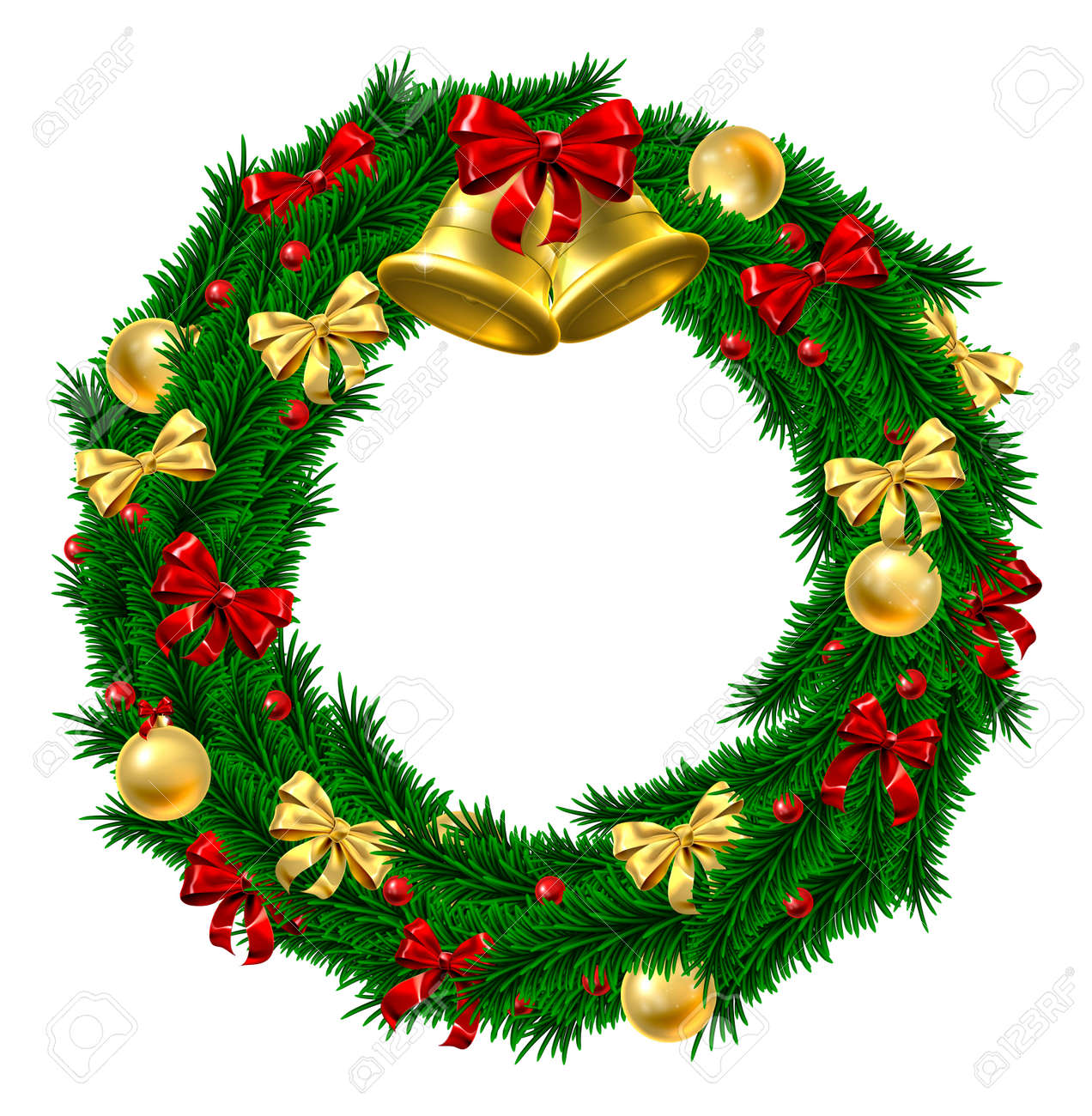 A Christmas Door Wreath Decoration With Gold And Red Bows And Ribbons,  Holly Berries,