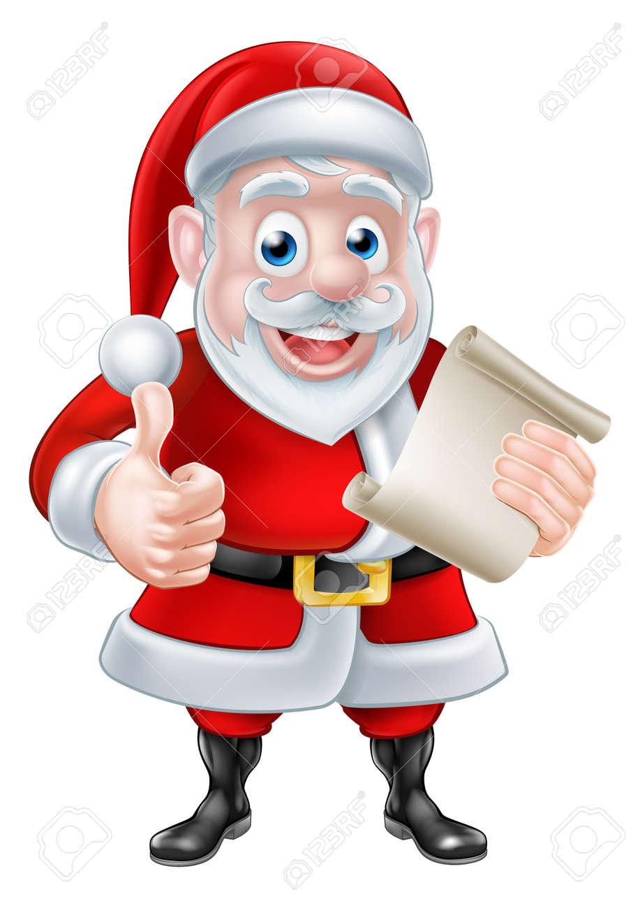 Imagenes De Papa Noel Animado.Dibujo Animado Lindo Papa Noel Con Su Lista De Desplazamiento De Navidad O Una Carta Haciendo Un Pulgar Hacia Arriba Y Sonriendo
