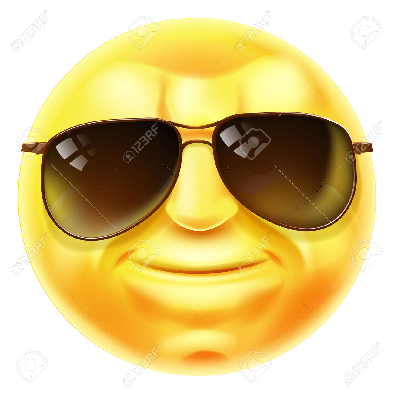 a cool looking emoji emoticon smiley face character with sunglasses