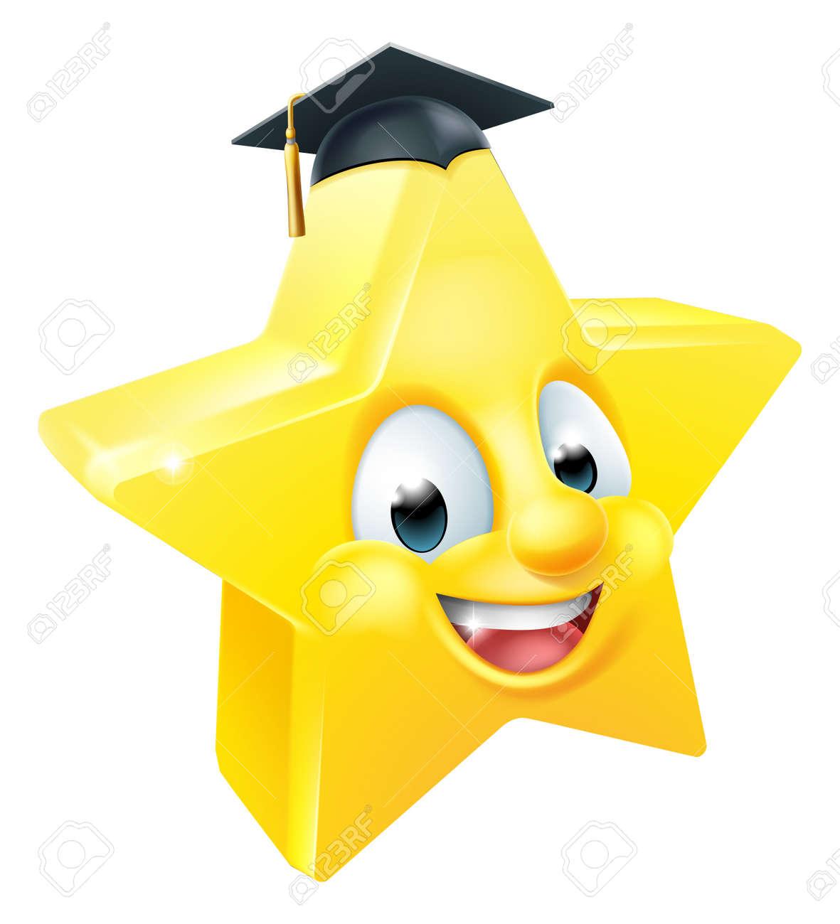 Estrella De Dibujos Animados Graduado Emoji Emoticon Carácter De La Mascota Con Un Sombrero De Graduación De Mortero De Junta