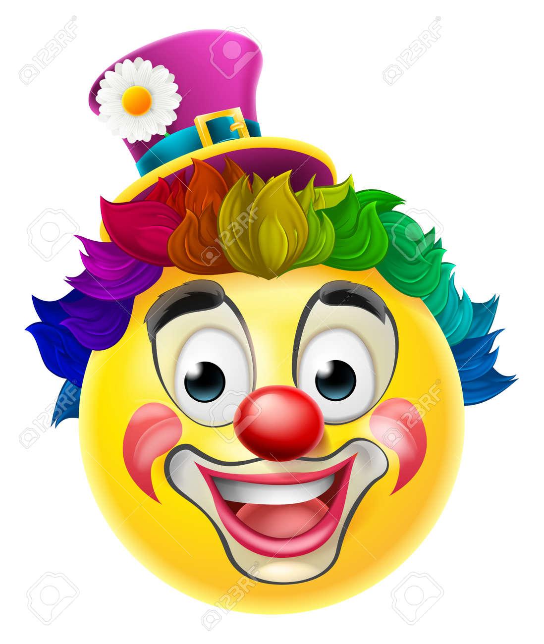 banque dimages une bande dessine de clown emoji moticne caractre smiley avec un nez rouge perruque arc en ciel et la peinture de visage maquillage