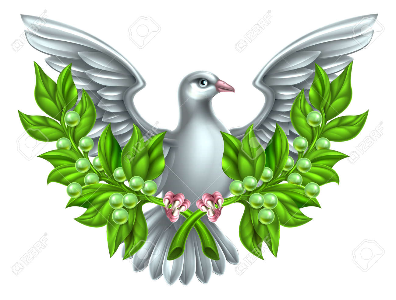 dove holding crossed olive branches a symbol of peace stock vector 49395251