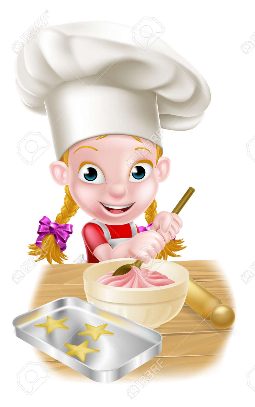 A happy girl baker in chefs hat stirring a bowl of cake mix with a wooden spoon - 50115830