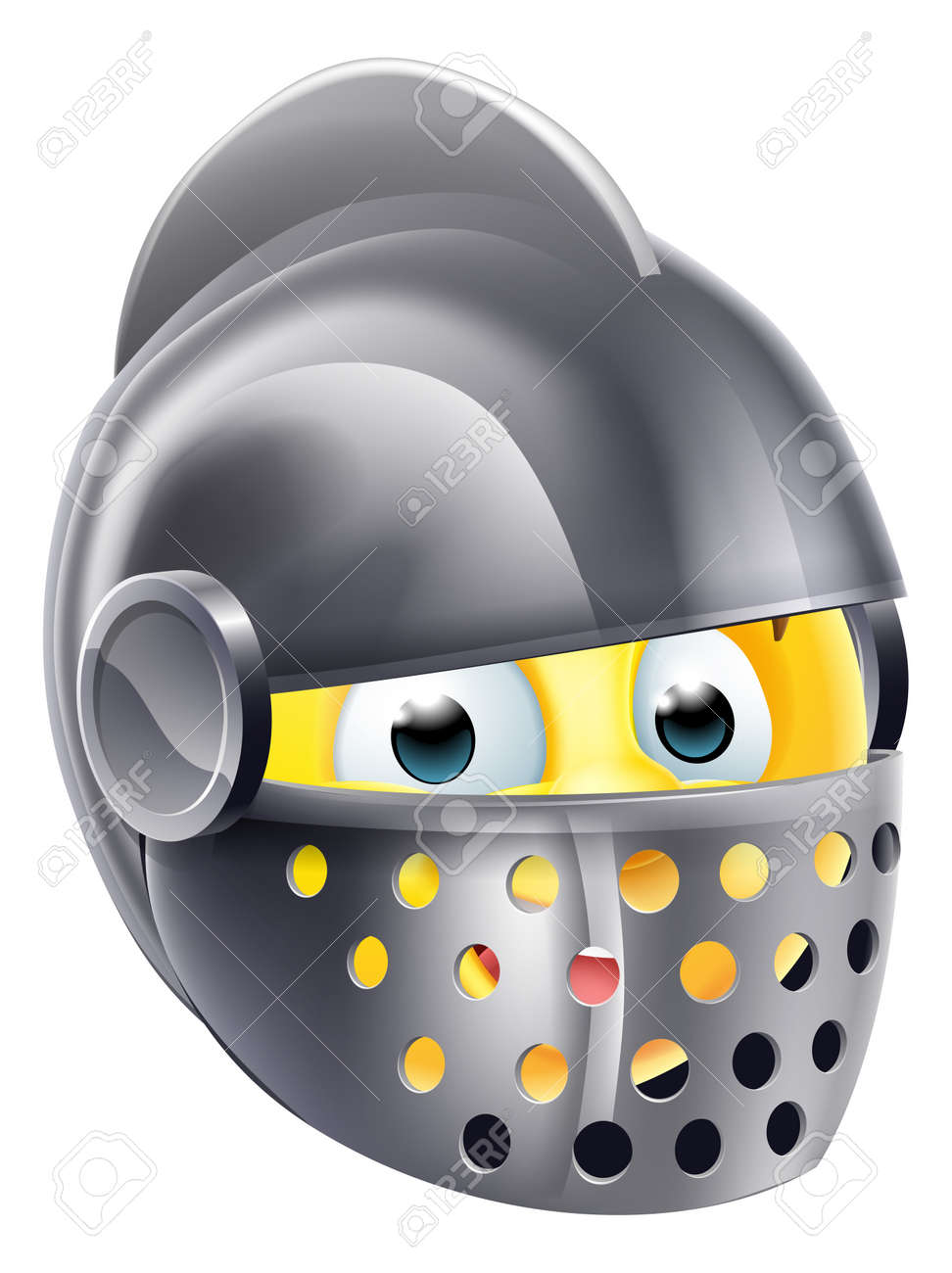Knight cartoon emoji emoticon smiley face character wearing a