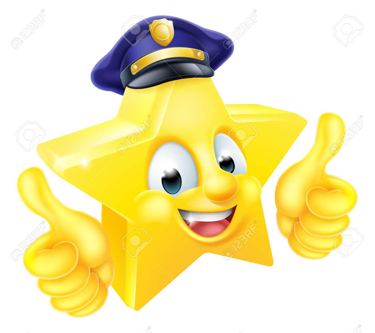 Star Cartoon Police De Emoji Emoticone Mascotte Personnage Donnant Un Coup De Pouce Clip Art Libres De Droits Vecteurs Et Illustration Image 50115840