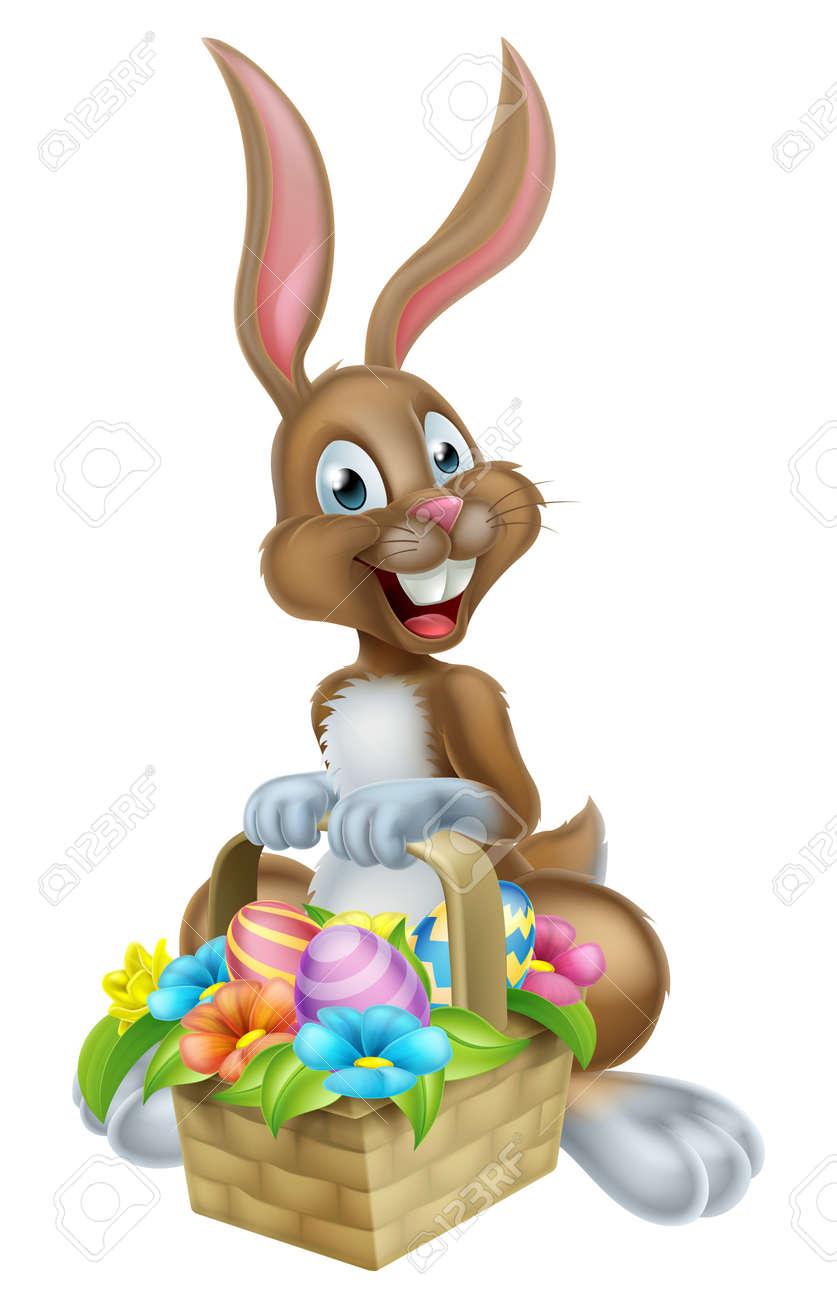 Pascua De Dibujos Animados Conejo De Conejito Que Sostiene Una Cesta ...