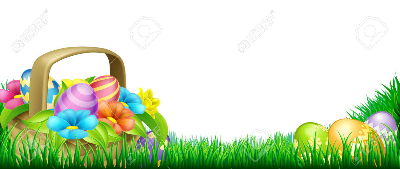 Easter scene footer design. Basket full of decorated chocolate Easter eggs and flowers in a field - 50483319
