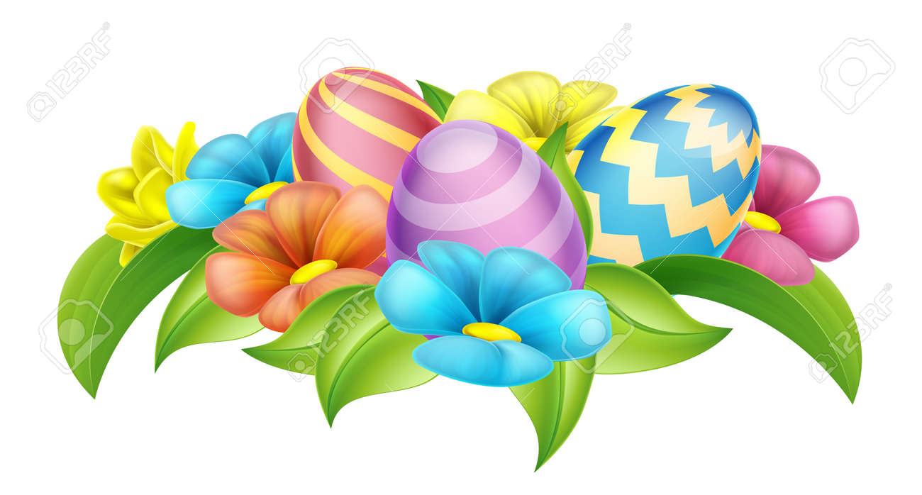 Easter Eggs And Spring Flowers Cartoon Design Element Royalty Free