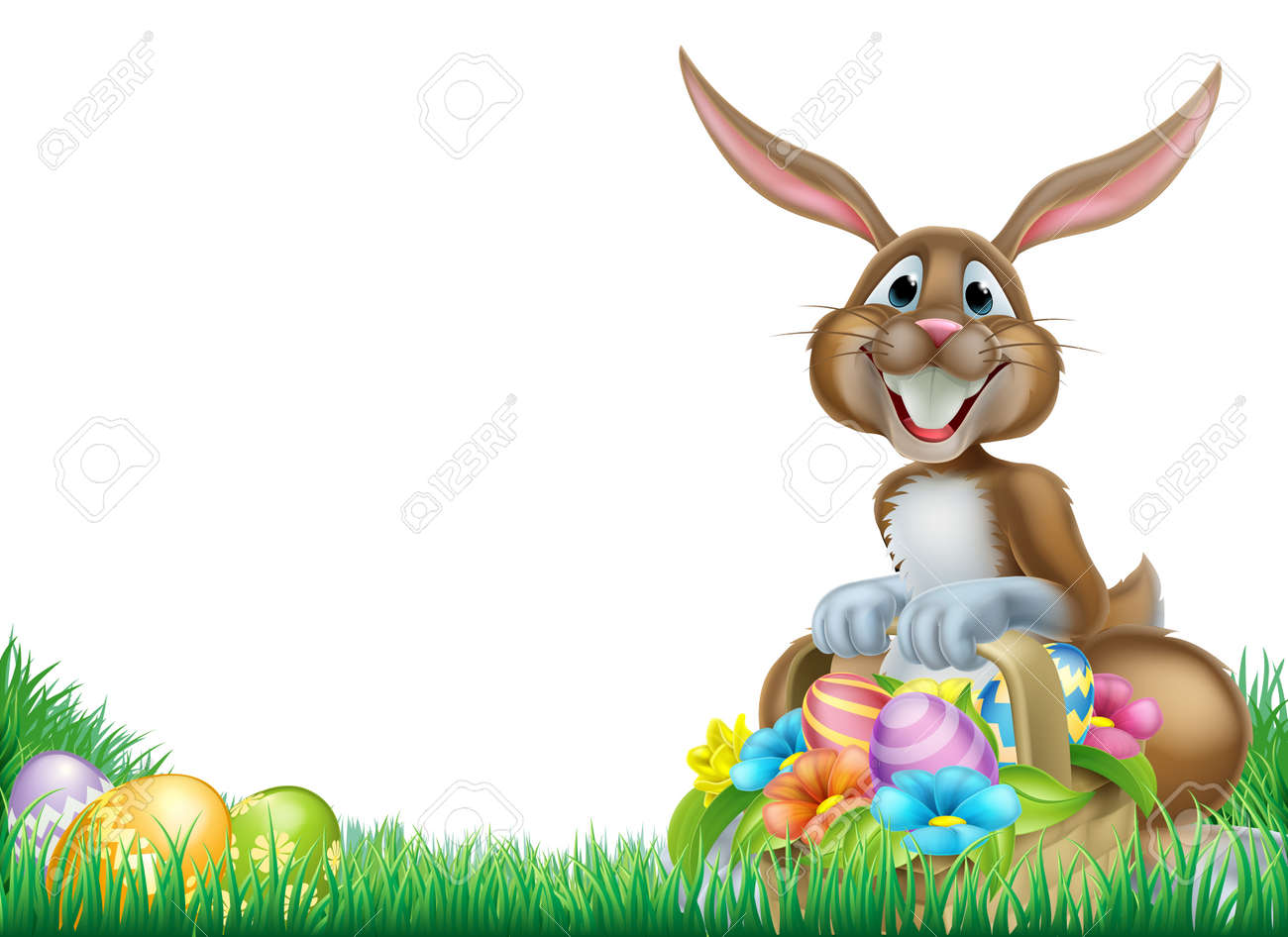 easter bunny with a basket full of decorated chocolate easter