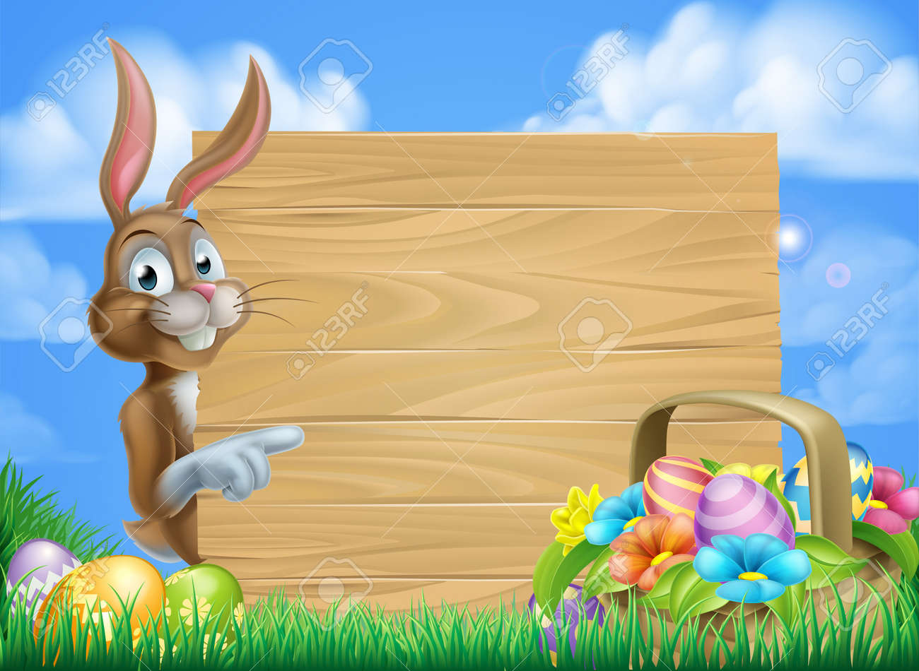 Cartoon Easter bunny and Easter basket full of Easter eggs background - 50898931