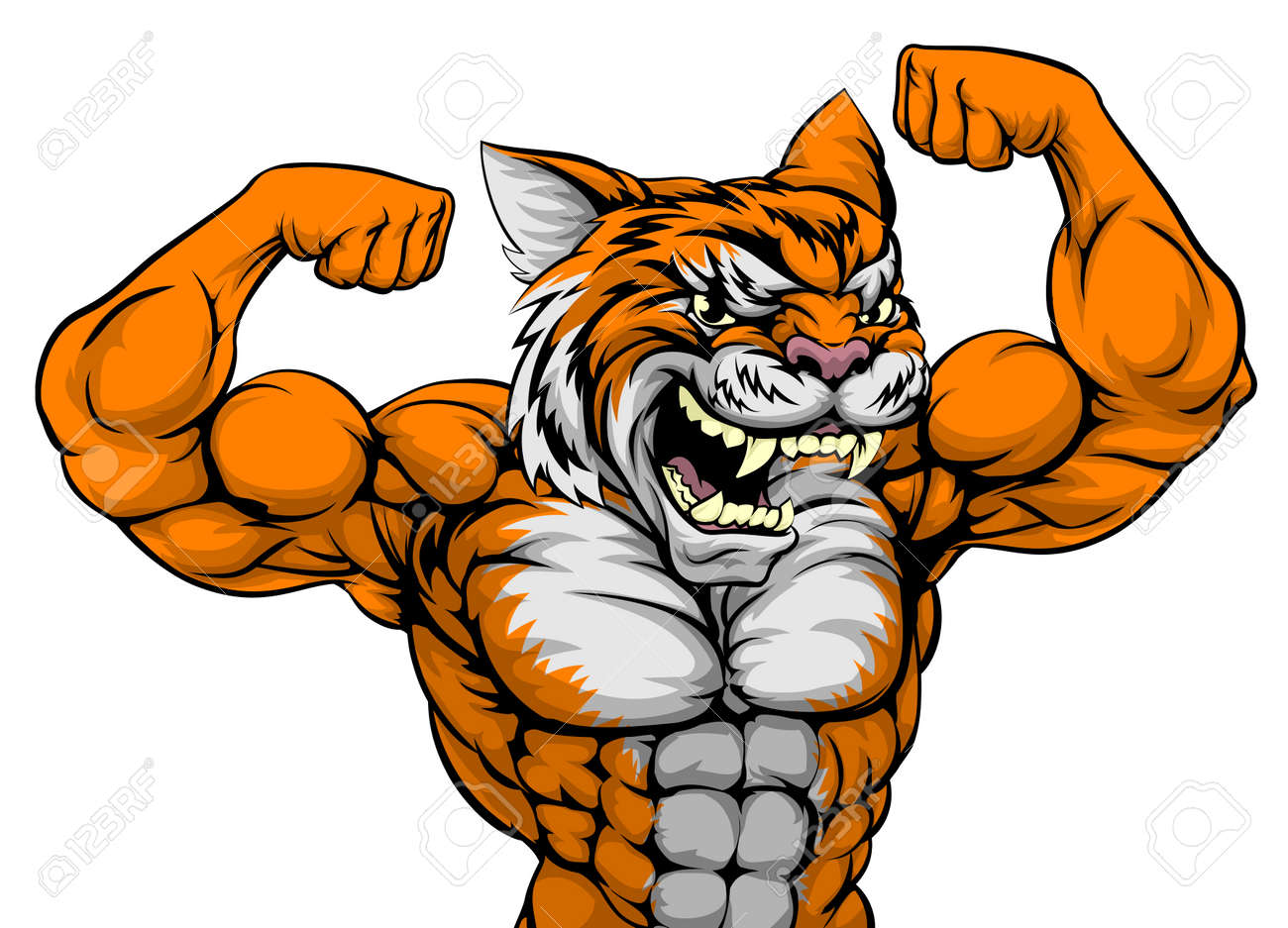 A Tiger Animal Sports Mascot Showing Off His Huge Bicep Muscles