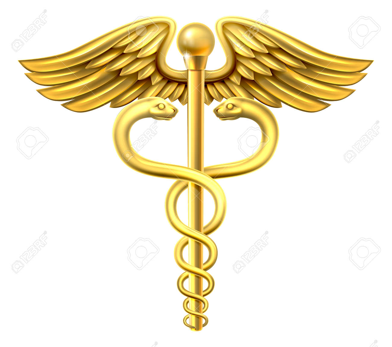 A gold caduceus medical symbol or symbol for commerce featuring intertwined snakes around a winged rod - 51305472