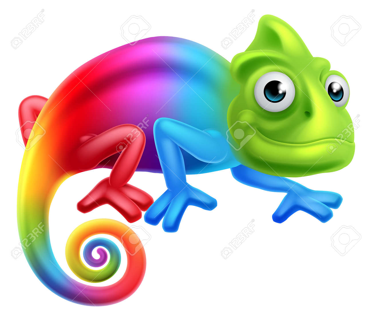 a cute cartoon rainbow coloured multicoloured chameleon lizard rh 123rf com veiled chameleon clipart the mixed up chameleon clipart